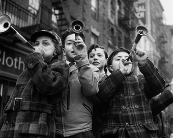 Photo of Children celebrating New Years Eve, Black and White Photography, NYC, Wall Art, Industrial Chic, Modern, Rustic Decor