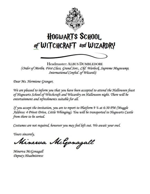 Harry Potter Acceptance Letter Invitation