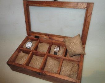Rustic Watch Box for Eight   8 watches,Valentines Day Men father's day gift for him, Watch Box Wood Men's Watch Box