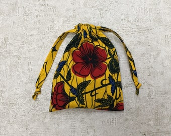 smallbags in African fabric, yellow and Red - 2 sizes - cotton bags