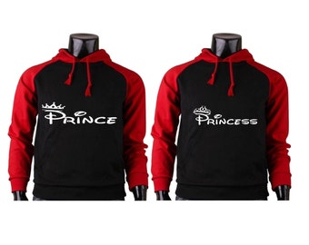Prince Princess Hoodies King Queen Raglan Hoodies Couple Hoodies pärchen pullover Couple Sweatshirts Couple Hooded Gift For Couples