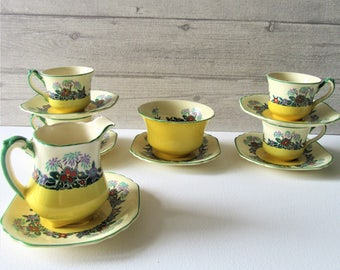 """Very old Wedgwood & Co Enoch Wedgwood RARE part tea set in art deco """"Palm"""" pattern vintage yellow floral bone china  hand painted"""