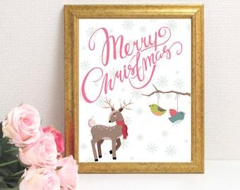 Nature Merry Christmas - Printable Art- Wall Art - DIGITAL DOWNLOAD