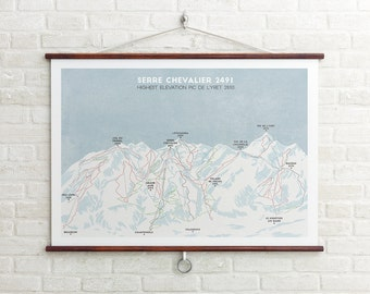 Serre Chevalier Ski Piste Map, Ski resort print, Ski Run Art, Snowboard Art, Ski Gifts, Gifts for him or her, Boyfriend/Girlfriend Gift