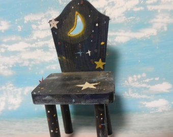 Hand painted Dolls Chair-Midnight Sky
