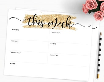 Printable Weekly Planner Gold Letter • Weekly Agenda Gold Printable Planner Gold Planner Weekly Planner Black and Gold Weekly Planner