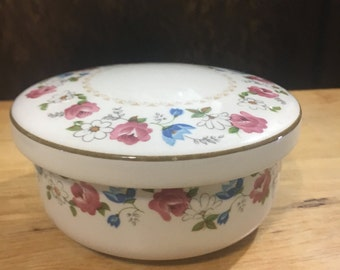 Hankook Floral Lidded Candy Dish / Candy Bowl / Nut Bowl / Salsa Dip Bowl