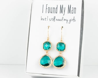 Long Teal Gold Earrings, Gold Teal Blue Earrings, Bridesmaid Jewelry, Teal Wedding Jewelry, Blue Green Gold Earrings, Bridesmaid Earrings