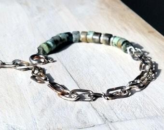 silver woman bracelet, handmade chain, turquoise