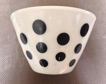 Large Black Polka Dot Bowl - Fireking