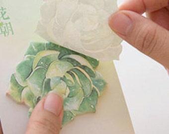 Green Succulent Flower Plant sticky memo