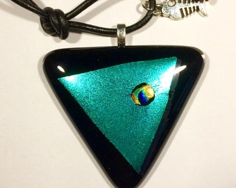 Chunky triangular black fused glass pendant