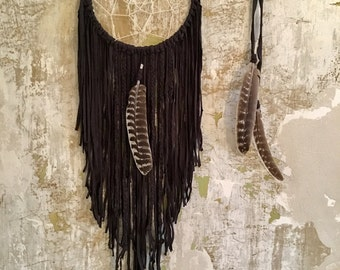 BLACKY dream backer of DreamCatcher Wallhanging boho hippie Gypsy wedding wedding macrame