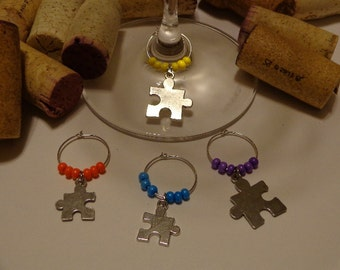 Puzzle Piece Wine Charms (4)