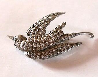 Antique Silver Swallow Brooch victorian Wedding Brooch