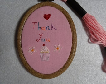 Thank you, Thanks, Gift, Hand embroidered, wall hanging, Embroidery hoop art, Cupcake, flowers, Home decor, wall art, Embroidery, oval frame