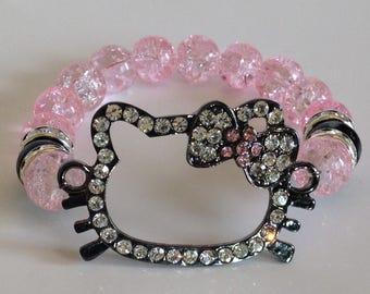 Pink & Black Kitty Face Stretch Bracelet
