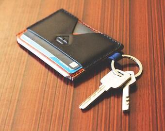 Genuine Leather Hand Stitched Minimalist Wallet, Thin card holder, Thin Card Wallet, Thin Leather Wallet