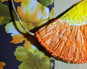 Embroidered Sun Bib Necklace Gold Orange Yellow Bright Sunshine Embroidery Sol Hippie Daisy Positivity Adjustable Goddess