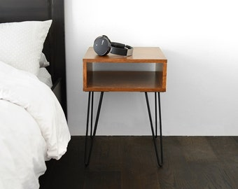 Modern Night Stand / Bedside or Side Table - Midcentury w/ Hairpin Legs