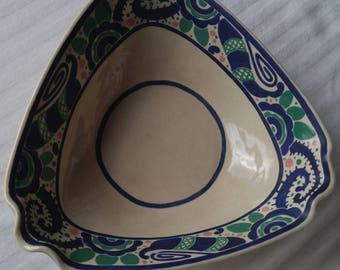 C&M POTTERY Vintage triangular ceramic bowl, fluted corners, vibrant blue/greens
