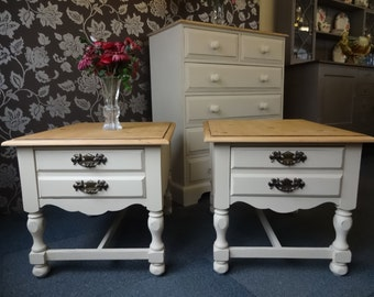 Shabby Chic Pine Bedside Tables/Side Tables