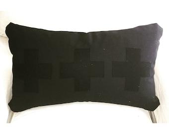 Black on Black Swiss Cross Pillow