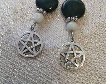 Wire-wrapped Earrings, Black Jasper, Amazonite, Pentacle