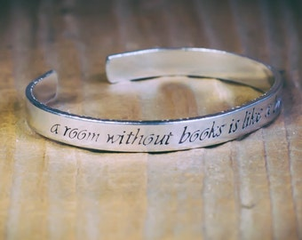 A Room Without Books Is Like A Body Without A Soul / Literary Gift / Literary Jewelry / Librarian Gift / Cicero Jewelry