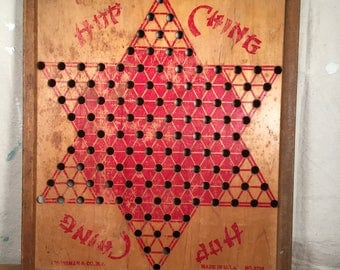 Vintage Retro Wood Chinese Checkers Game Board Red Star Decor Asian Hop Ching Pressman Corp NY 1940s 50s