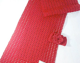 Women's scarf / Spring - Autumn /red scarf/  cotton-acrylic / light, comfortable, soft Spring autumn scarf Women acrylic scarves