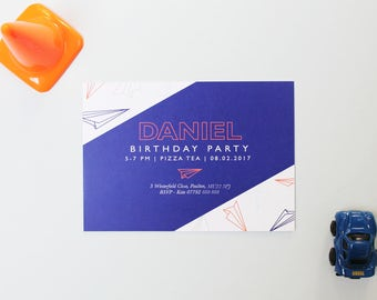 Paper Plane Birthday Invite | Children's Birthday Invite | Kids Birthday Party Invitations | Birthday Party Invites | Aeroplane Invitation