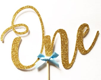 """Gold """"One"""" Large Cake Topper, Cake Smash, First Birthday, 1st, Party Supplies, Decorations"""