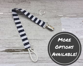 Pacifier Clip | Blue & White Striped | Protects Pacifier From Falling | Binki | Soothie | Nuk | Paci | Baby | Boy | Girl | Gender Neutral