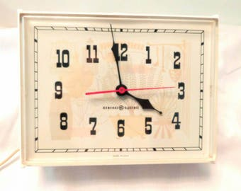 Vintage General Electric  white kitchen wall clock 1960s