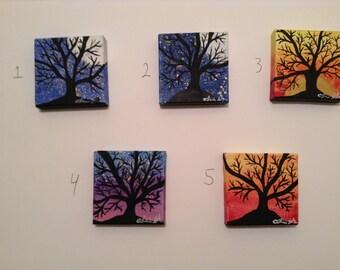 Mini Hand Painted Tree Silhouettes