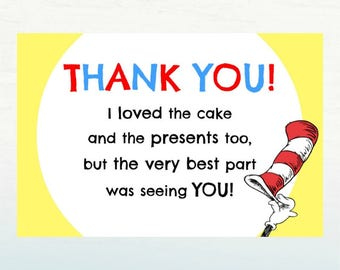 Dr. Seuss Thank You Card, Baby Shower Printable, INSTANT DOWNLOAD