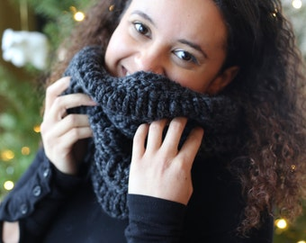 READY TO SHIP Charcoal Drop Cowl