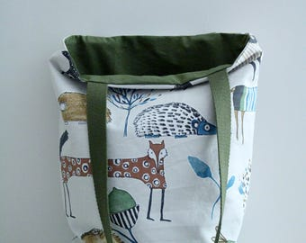 Bag, tote bag pattern animals from spring