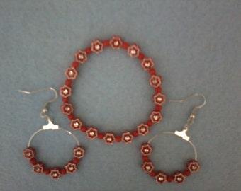 Red Flowered Girl's Bracelet and Earring Set