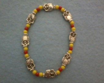 Yellow and Red Owl Bracelet