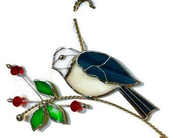 Stained glass chicadee bird with berries suncatcher