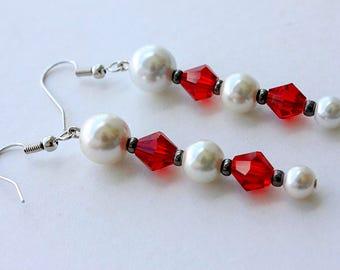 Rubies in Snow Earrings