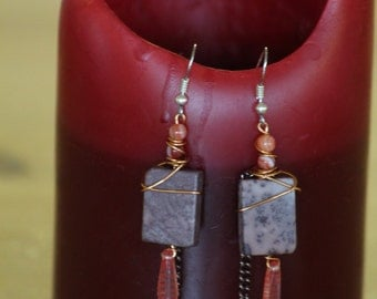 Mixed metal Speckled stone dangles