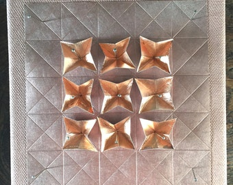 Origami Paper Art - Copper on Silver Paper Wall Hanging - Limited Edition