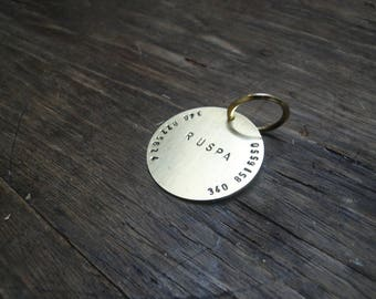 Hand Stamped Pet Name Tag, Small Dog Tag, Cat Tag, ID Tag,Dog Tag for Dogs, 25mm Brass Tag, Dog Collar Name Tag, Metal Pet Tag