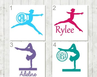 Gymnast Decal, Gymnast Monogram, Gymnastics Decal, Gymnastics Gifts, Gymnast Competition Gift, Gymnastics Coach Gift, Gymnast Mom's Gifts