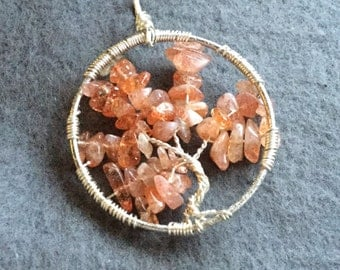 Autumnal Sunstone tree of life pendant