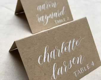 Modern Calligraphy Kraft Place Cards // handwritten seating cards for weddings, showers, dinner parties, bar and bat mitzvahs, placecards