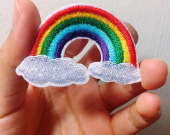 Ag/Rainbow/clouds/white cloud/colorful/rain/free shipping iron on patch /embroidery appliqué /stitch work